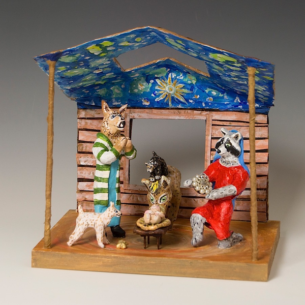 "Linda Hall, Large Nativity, papier-mâché, mixed-media, 8.25 x 10 x 7"""