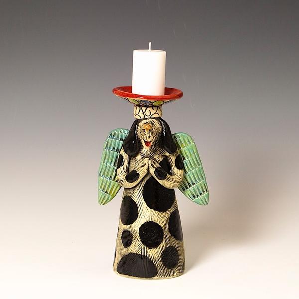 """Barry Gregg Barry Gregg, Angel Candlestick, handbuilt earthenware, glaze, 8.25 x 5 x 3.25"""""""