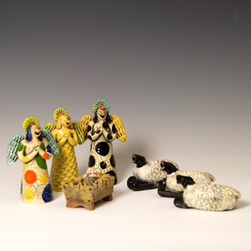 "Barry Gregg Barry Gregg, ""Flock By Night"" Nativity, handbuilt earthenware, glaze"