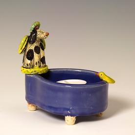 "Barry Gregg Barry Gregg, Dog Bowl Tea Light, handbuilt earthenware, glaze, 5.25 x 3.25 x 2"""