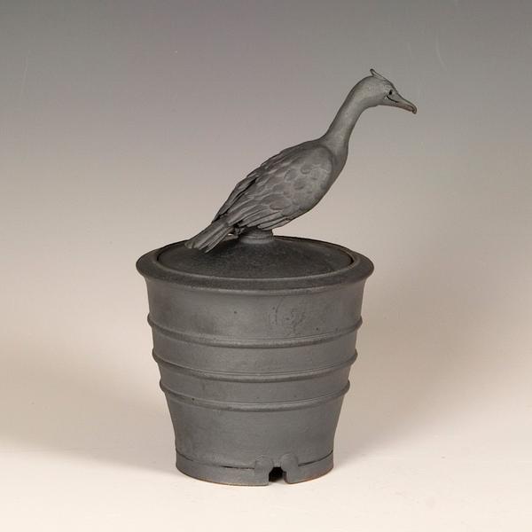 "Steve Godfrey Steve Godfrey, Crane Sugar Jar, stoneware, 7.75 x 5.75 x 4.75"""