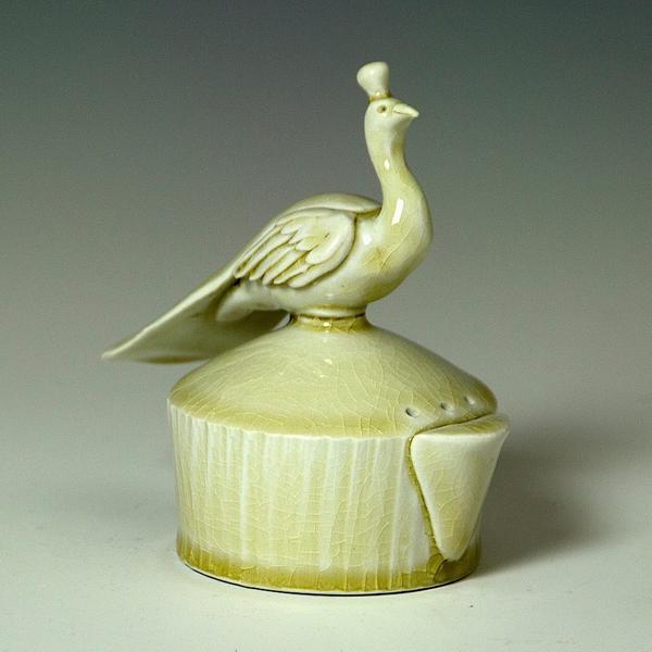"""Steve Godfrey Steve Godfrey, Peacock Shaker, porcelain, 4.75 x 4.75 x 3"""""""