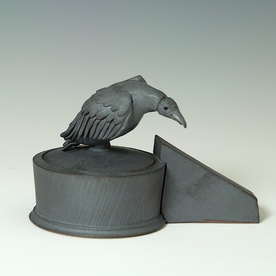 "Steve Godfrey Steve Godfrey, Vulture Salt Cellar, stoneware, 4.5 x 4 x 8"""
