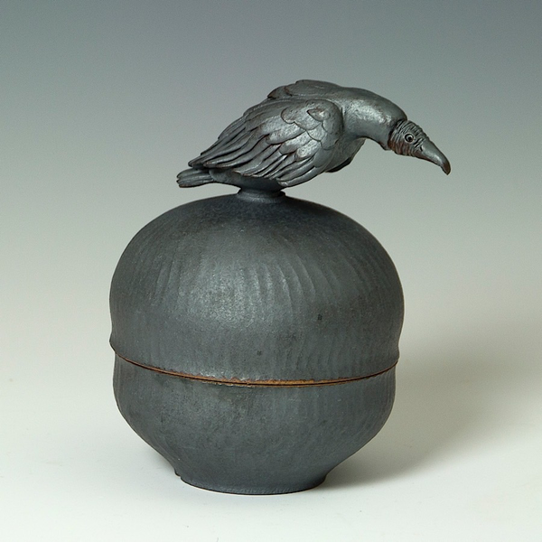 "Steve Godfrey Steve Godfrey, Vulture Sugar Jar, stoneware, 6.25 x 4 x 5.25"""