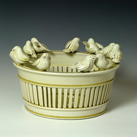 Steve Godfrey Steve Godfrey, Western King Bird Fruit Basket, porcelain