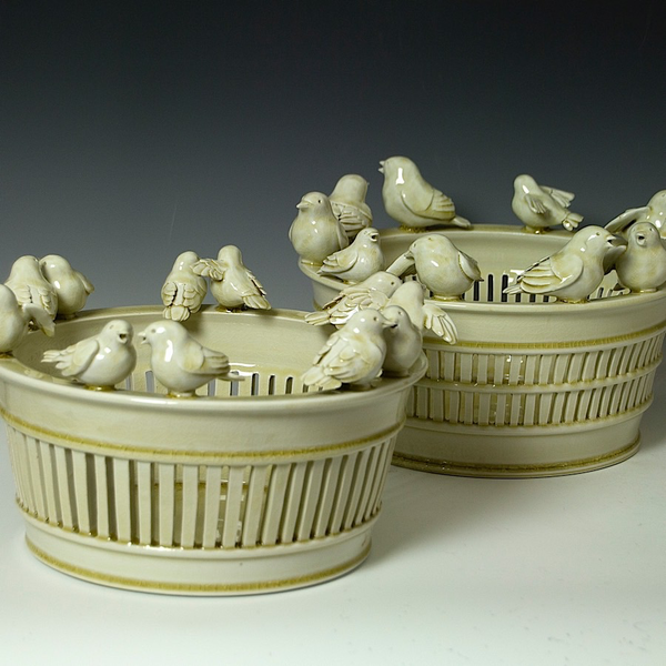 Steve Godfrey Steve Godfrey, Western King Bird Fruit Basket, porcelain