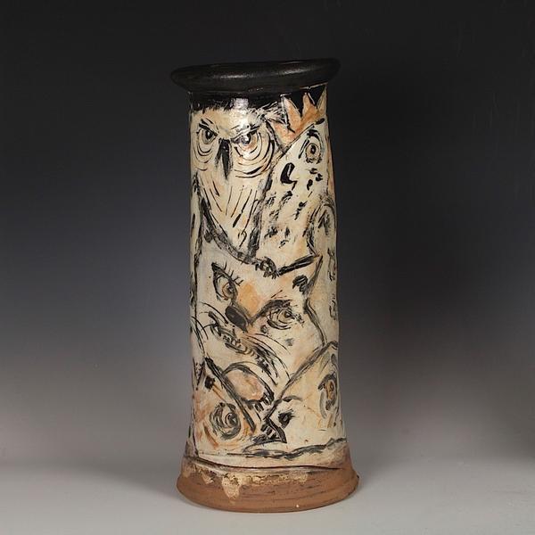 """Ron Meyers Ron Meyers, Vase w/Images, 17 x 7.5"""""""