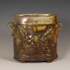 """Ron Meyers Ron Meyers, Vase w/Rabbit, woodfired earthenware, 8.25x9.5"""""""