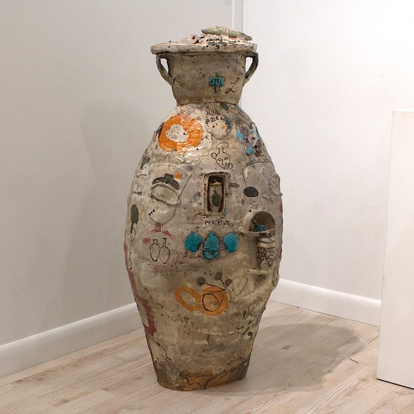 "Ted Saupe Ted Saupe, ""For The Far Lands, Ages From Now"", porcelain, glaze, 36 x 15 x 12.5"""