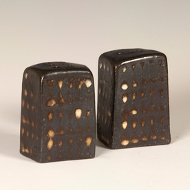 Nancy Green Nancy Green, Salt/Pepper, stoneware, wood-fired, 2.75 x 1.5 x 1.75""