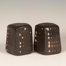 Nancy Green Nancy Green, Salt/Pepper, stoneware, wood-fired, 2.75 x 2 x 2""
