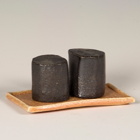 Nancy Green Nancy Green, Tiny Salt/Pepper on Tray, stoneware, wood-fired