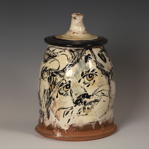 """Ron Meyers Ron Meyers, Covered Jar w/Images, 10.25 x 7""""<br /> <br /> <br /> <br /> 7 x """""""