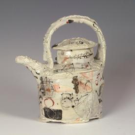 "Ted Saupe Ted Saupe, Teapot, porcelain, glaze, 7.5 x 6.5 x 3.5"""