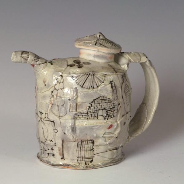 "Ted Saupe Ted Saupe, Sauce Pot, porcelain, glaze, 5.25 x 6 x 3.25"""