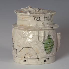 Ted Saupe Ted Saupe, Oval Stacked Box, porcelain, glaze, 6.25 x 5.25 x 4""