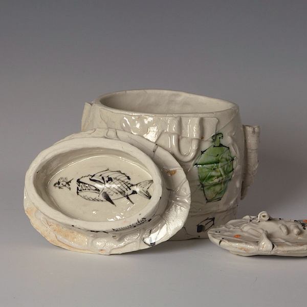 """Ted Saupe Ted Saupe, Oval Stacked Box, porcelain, glaze, 6.25 x 5.25 x 4"""""""