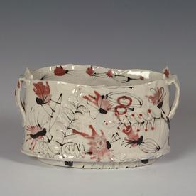 "Ted Saupe Ted Saupe, Oval Bowl, porcelain, glaze, 4.75 x 7.5 x 4.25"""