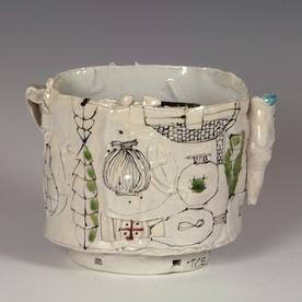 "Ted Saupe Ted Saupe, Oval Bowl, porcelain, glaze, 5 x 6.5 x 4.25"""