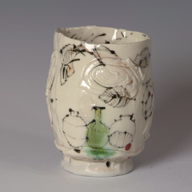 Ted Saupe Ted Saupe, Yunomi, porcelain, glaze, 4.5 x 3.5""