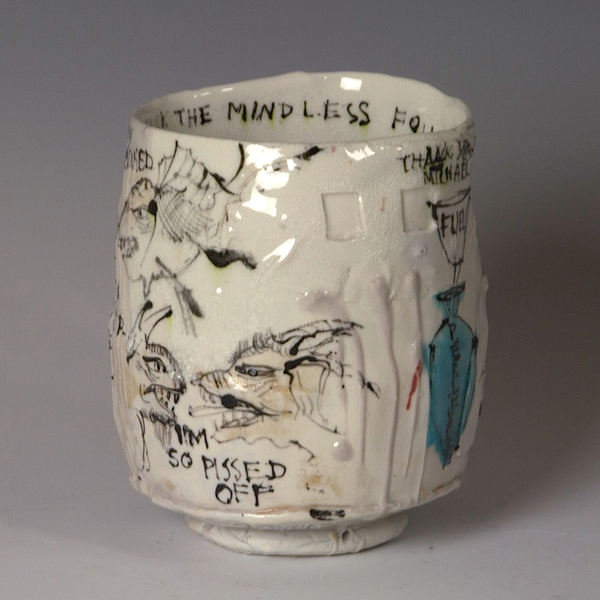 """Ted Saupe Ted Saupe, Yunomi, porcelain, glaze, 4.75 x 4.25"""""""