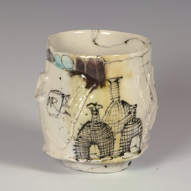 Ted Saupe Ted Saupe, Yunomi, porcelain, glaze, 4 x 3.5""