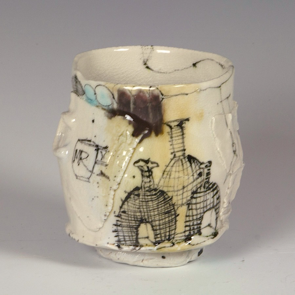 """Ted Saupe Ted Saupe, Yunomi, porcelain, glaze, 4 x 3.5"""""""