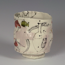Ted Saupe Ted Saupe, Yunomi, porcelain, glaze, 4.25 x 3.5""