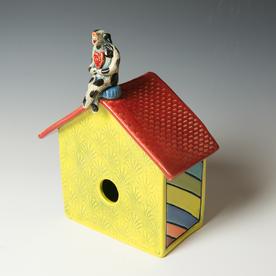 "Barry Gregg Barry Gregg, Large Birdhouse with Dog, handbuilt earthenware, glaze, 11.5 x 9.25 x 5.25"""