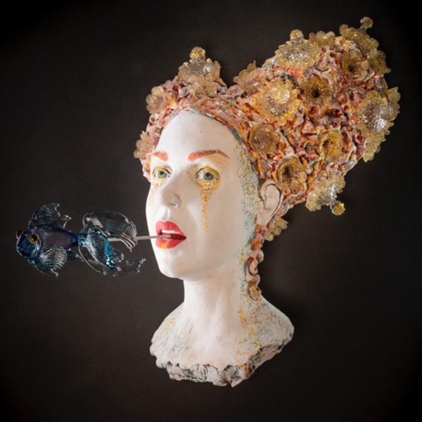 """Kirsten Stingle Kirsten Stingle, Whisper, Stoneware, glaze, slip, stain, Venetian glass, 15 x 19 x 12"""""""