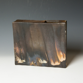 Nancy Green Nancy Green, Asymmetrical Rectangular Vase, stoneware, black clay, slip