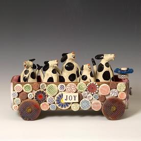 """Barry Gregg Barry Gregg, Joy Ride Cart, handbuilt earthenware, glaze, 8.25 x 15 x 6"""""""