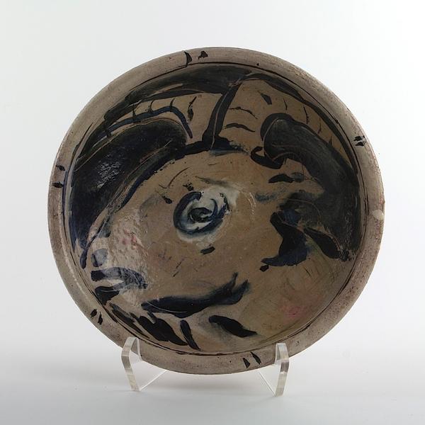 "Ron Meyers Ron Meyers, Bowl w/Goat, earthenware, 2.75 x 9.75"""