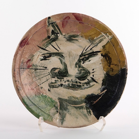 Ron Meyers Ron Meyers, Small Plate w/Cat, earthenware, 1 x 7.75""