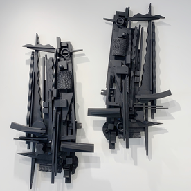 Peter Pittman Peter Pittman, symphony of re | claimed elements II[ …nocturne duet] _ diptych, wood, paint, 45 x 24 x 4.5""
