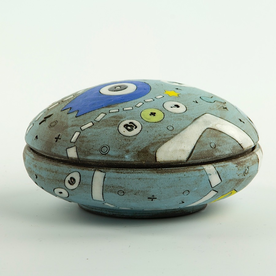 Masa Sasaki Masa Sasaki, One Eyed Alien Salt Cellar, chocolate clay, glaze, 2.5 x 3.75""
