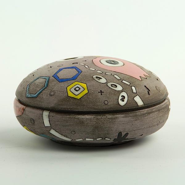 """Masa Sasaki Masa Sasaki, One Eyed Alien Salt Cellar, chocolate clay, glaze, 2.5 x 3.75"""""""