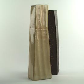 "Nancy Green Nancy Green, Tall Wedge Vase, stoneware,  16.25 x 4.75 x 2.75"""