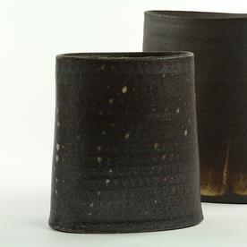 """Nancy Green Nancy Green, Sponged Pattern Envelope Vase, stoneware, 6.5 x 6 x 2.75"""""""