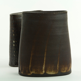"Nancy Green Nancy Green, Brushed Pattern Envelope Vase, stoneware, 7.25 x 6.25 x 3"""