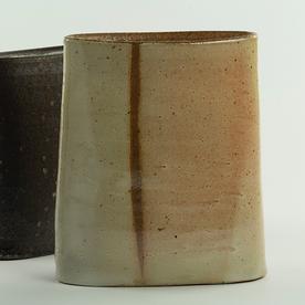 "Nancy Green Nancy Green, Verticle Stripe Envelope Vase, stoneware, 7.5 x 6.5 x 2.5"""
