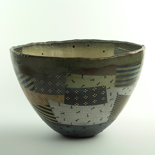 Barry Rhodes Barry Rhodes, Medium Bowl, stoneware, slip, underglaze, 8.25 x 13""
