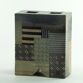 """Barry Rhodes Barry Rhodes, Square Flower Box, stoneware, slip, underglaze, 7.75 x 6.25 x 3.25"""""""