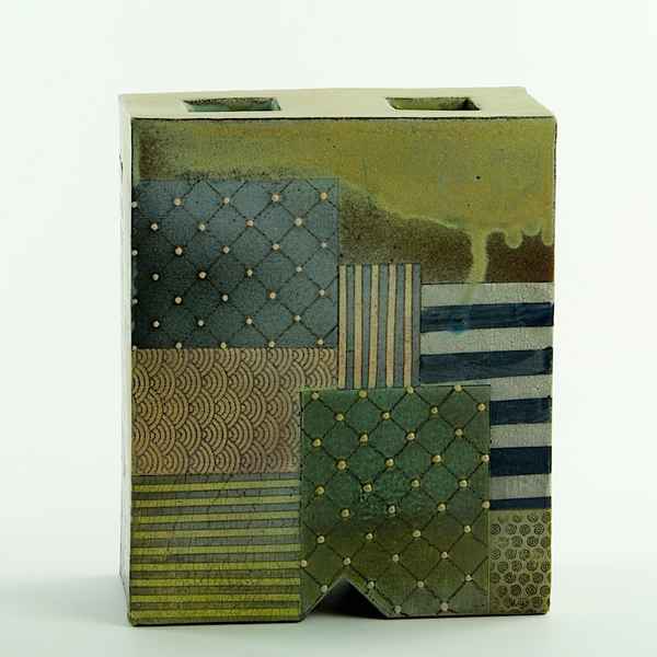 Barry Rhodes Barry Rhodes, Square Flower Box, stoneware, slip, underglaze, 7.75 x 6.25 x 3.25""