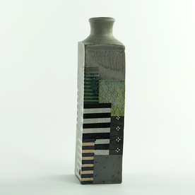 Barry Rhodes Barry Rhodes, Large Bottle, stoneware, slip, underglaze, 11.25 x 2.75""