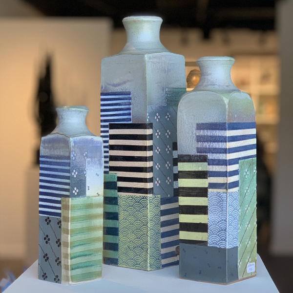 Barry Rhodes Barry Rhodes, Medium Bottle, stoneware, slip, underglaze, 9.25 x 2.25""