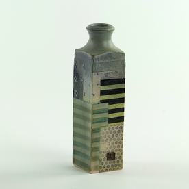 Barry Rhodes Barry Rhodes, Small Bottle, stoneware, slip, underglaze, 7.25 x 2""