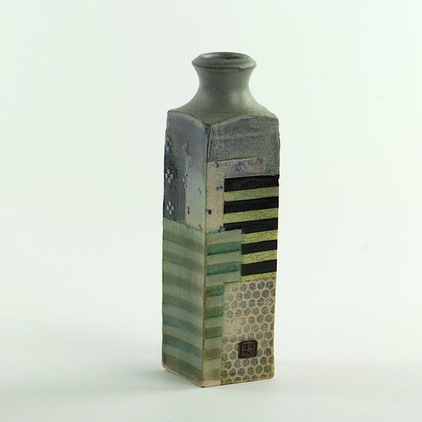 """Barry Rhodes Barry Rhodes, Small Bottle, stoneware, slip, underglaze, 7.25 x 2"""""""