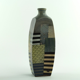 Barry Rhodes Barry Rhodes, Rounded Bottle, stoneware, slip, underglaze, 11.5 x 4 x 2.375""