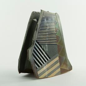 """Barry Rhodes Barry Rhodes, Sculpture Vase, stoneware, slip, underglaze, 10.25 x 9.25 x 3"""""""